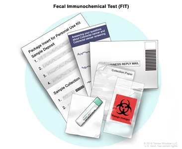 Fecal immunochemical test (FIT); drawing shows a FIT kit, which includes the package insert, the collection paper, and a collection tube with a small brush inside of it. Also shown are the biohazard bag, the return envelope, and a paper with information about colorectal cancer and colorectal cancer screening.